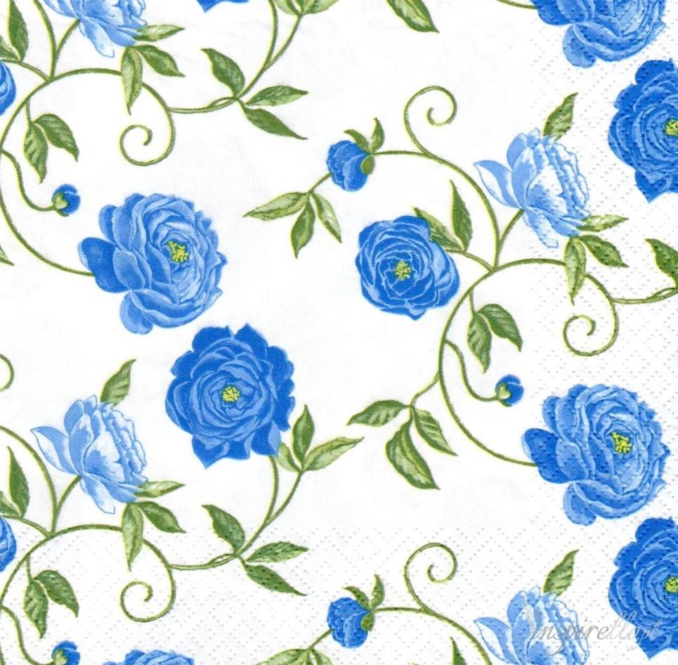Serwetka Do Decoupage Niebieskie Kwiaty