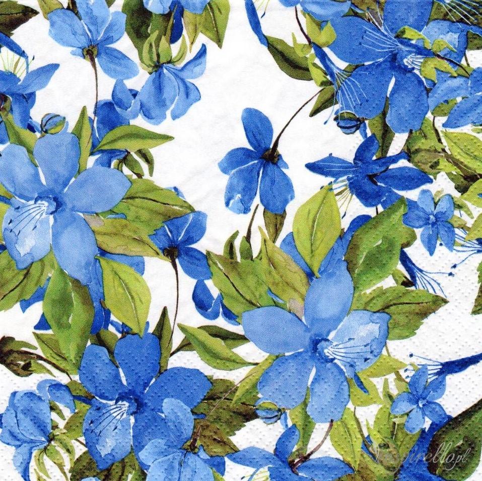 Serwetka Paczka Niebieskie Kwiaty