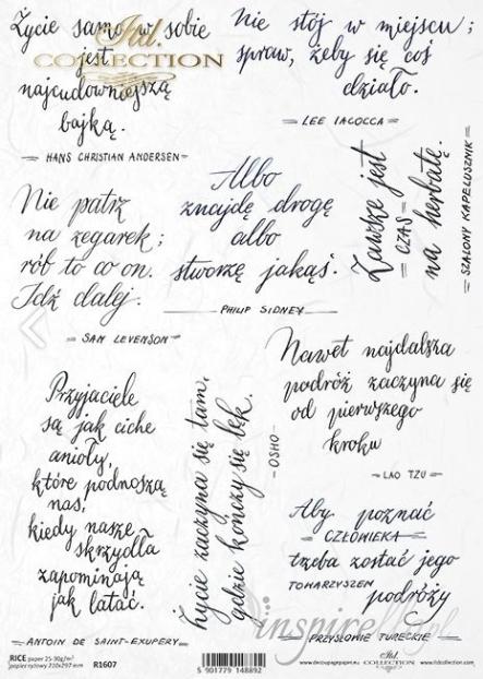 Papier Ryżowy A4 Napisy Sentencje Cytaty