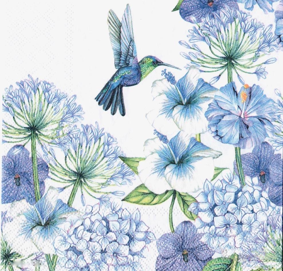Serwetka Do Decoupage Koliber Niebieskie Kwiaty