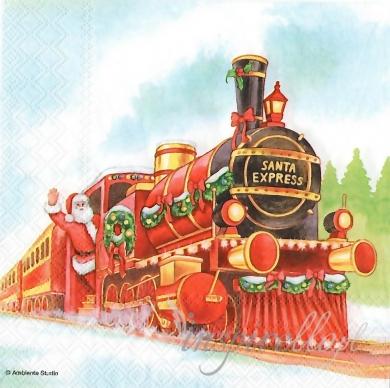Serwetka  - świąteczny pociąg