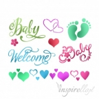 STAMPERIA-SZABLON 15x20 cm BABY WELCOME