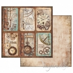 Papier do scrapbookingu dwustronny 1 kartka  30x30 cm - SOFT STEAMPUNK KARTY